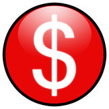 (Het rode) Pictogram van de het tekenKnoop van de dollar Royalty-vrije Stock Foto
