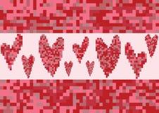 Het rode pixel van de hartliefde Stock Foto