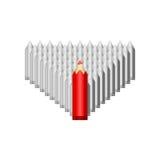 Het rode potlood leidt grijs Royalty-vrije Stock Afbeeldingen