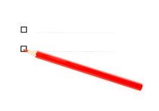 Het rode potlood onder twee unticked diagonaal checkboxes Stock Fotografie
