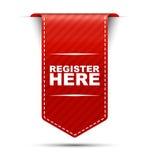 Het rode register van het bannerontwerp hier Stock Fotografie