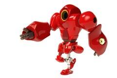 Het rode robot lopen Stock Afbeeldingen