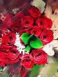 Het rode Rozen Schilderen Royalty-vrije Stock Fotografie