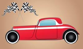 Het rode silhouet rennen en hete staaf retro auto Royalty-vrije Stock Afbeeldingen