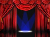 Het rode Stadium van het Theater met de Blauwe Lichten van de Vlek Royalty-vrije Stock Afbeelding
