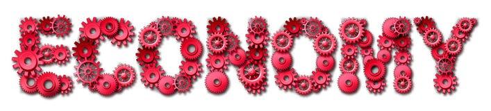 Het rode symbool van de economietekst met toestellen en radertjes Stock Afbeeldingen