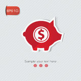 Het rode symbool van het spaarvarken, Royalty-vrije Stock Fotografie