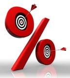 Het rode symbool van percenten met conceptuele doelstellingen Royalty-vrije Stock Afbeeldingen