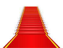 Het rode tapijt is op de treden. Stock Afbeeldingen