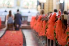 Het rode tapijt van het huwelijk Royalty-vrije Stock Fotografie