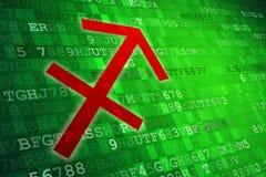 Het rode Teken van de Boogschutterdierenriem op groene digitale achtergrond De ruimte van het exemplaar Stock Foto's
