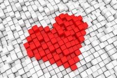 Het rode Teken van het de Kubuspixel van het Hartblok het 3d teruggeven Royalty-vrije Stock Foto