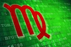 Het rode Teken van de Maagddierenriem op groene digitale achtergrond De ruimte van het exemplaar Royalty-vrije Stock Fotografie