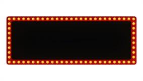 Het rode teken van de markttent lichte raad retro op witte achtergrond het 3d teruggeven stock illustratie