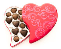 Het rode Tin van de Chocolade van het Hart Stock Fotografie