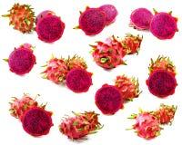 Het rode voedende goed van het draakfruit voor gezondheid op witte achtergrond Stock Foto's