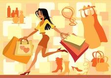 Het rode winkelen Stock Illustratie
