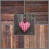 Het rode/witte geruite hartvorm hangen in land of sjofele chi Royalty-vrije Stock Afbeelding