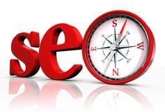 Het rode woord van Seo en conceptueel kompas vector illustratie