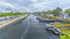 Het roeien langs kanaal met abrikoos draagt bloemen Stock Fotografie