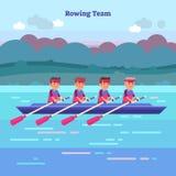 Het roeien team vectorillustratie in kajak of kano Openluchtactiviteit met de sportatleten van het groepswerkwater in rivier, ove Royalty-vrije Stock Afbeeldingen