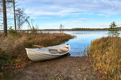 Het roeien van boot in lakeshore stock fotografie