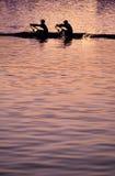 Het roeien zonsondergang Stock Foto