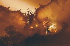 Het roepen van de draak, het digitale schilderen royalty-vrije illustratie