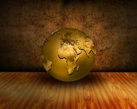 Het roestige binnenland van Grunge met gouden wereldbol Royalty-vrije Stock Foto