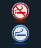 Het roken en nr - rokende tekens Stock Foto