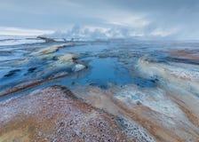 Het roken Myvatn Mudpots in IJsland Royalty-vrije Stock Foto