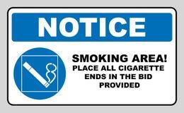 Het roken permited in dit plaatspictogram Het roken gebied Rond blauw teken met wit pictogram en zwarte teksten Vectorillustratie Royalty-vrije Stock Foto