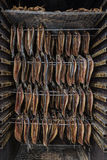 Het roken Vissen - Gerookte Haringen Stock Foto
