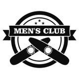 Het rokende embleem van de mensenclub, eenvoudige stijl royalty-vrije illustratie