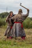 Het rol-spelend spel ontspant slagen van het mongools-Mongol-Tatar juk in het Kaluga-gebied van Rusland op 10 September 2016 Stock Foto