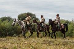 Het rol-spelend spel ontspant slagen van het mongools-Mongol-Tatar juk in het Kaluga-gebied van Rusland op 10 September 2016 Royalty-vrije Stock Fotografie