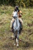 Het rol-spelend spel ontspant slagen van het mongools-Mongol-Tatar juk in het Kaluga-gebied van Rusland op 10 September 2016 Stock Afbeelding