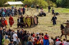 Het rol-spelend spel ontspant slagen van het mongools-Mongol-Tatar juk in het Kaluga-gebied van Rusland op 10 September 2016 Royalty-vrije Stock Foto
