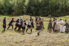Het rol-spelend spel ontspant slagen van het mongools-Mongol-Tatar juk in het Kaluga-gebied van Rusland op 10 September 2016 Stock Afbeeldingen