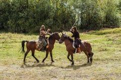 Het rol-spelend spel ontspant slagen van het mongools-Mongol-Tatar juk in het Kaluga-gebied van Rusland op 10 September 2016 Royalty-vrije Stock Foto's