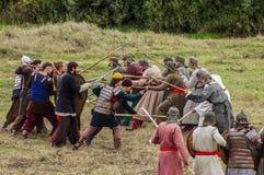 Het rol-spelend spel ontspant slagen van het mongools-Mongol-Tatar juk in het Kaluga-gebied van Rusland op 10 September 2016 Royalty-vrije Stock Afbeeldingen