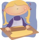 Het rollende gebakje van het meisje Stock Illustratie