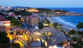Het Roman amfitheater in avond Tarragona Stock Fotografie