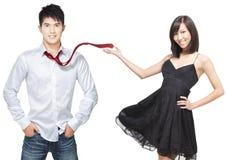Het romantische Chinese paar flirten royalty-vrije stock fotografie