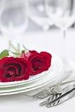 Het romantische diner plaatsen Stock Foto