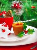 Het romantische diner van de Kersttijd Stock Foto's