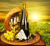 Het romantische diner van de wijn en van de kaas openlucht Stock Afbeeldingen