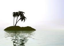 Het romantische Eiland van de Woestijn met Palm Royalty-vrije Stock Foto