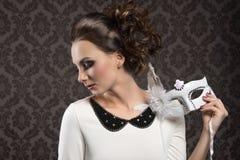 Het romantische masker van meisjes witte Carnaval Stock Afbeelding