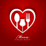 Het romantische ontwerp van het lunchmenu Stock Afbeelding